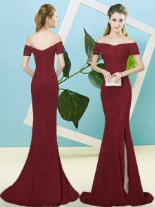 Custom Design Burgundy Mermaid Sequined Off The Shoulder Short Sleeves Sequins Zipper Prom Dresses Sweep Train