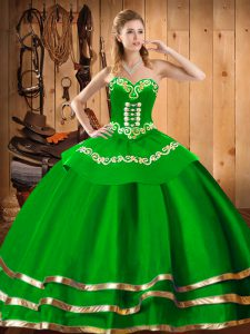 Charming Green Organza Lace Up Sweetheart Sleeveless Floor Length Sweet 16 Dress Embroidery