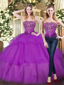 Eggplant Purple Quinceanera Gown Military Ball and Sweet 16 and Quinceanera with Beading and Ruffled Layers Strapless Sleeveless Lace Up
