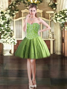 Admirable Mini Length Ball Gowns Sleeveless Olive Green Prom Party Dress Lace Up