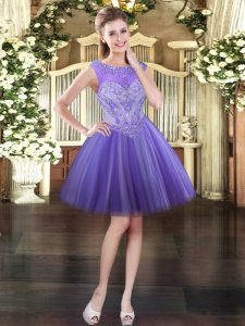 Great Mini Length Lavender Prom Dress Scoop Sleeveless Lace Up