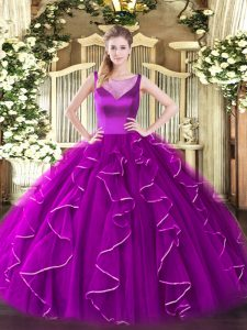Fuchsia Quince Ball Gowns Sweet 16 and Quinceanera with Beading and Ruffles Scoop Sleeveless Side Zipper