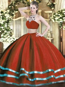 Excellent Wine Red Backless Quinceanera Gown Beading Sleeveless Floor Length