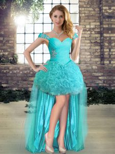 Artistic High Low Aqua Blue Prom Party Dress Fabric With Rolling Flowers Sleeveless Beading