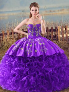 Sleeveless Embroidery and Ruffles Lace Up Quinceanera Gowns with Purple Brush Train