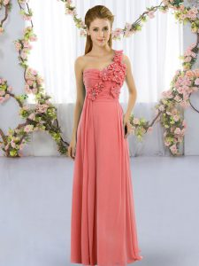 Romantic Sleeveless Lace Up Floor Length Hand Made Flower Dama Dress for Quinceanera