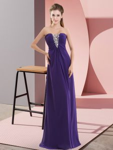 Floor Length Empire Sleeveless Purple Evening Dress Zipper
