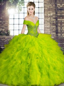 Dramatic Olive Green Sleeveless Tulle Lace Up Sweet 16 Quinceanera Dress for Military Ball and Sweet 16 and Quinceanera