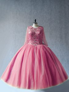 Pink Ball Gowns Scoop Long Sleeves Tulle Floor Length Lace Up Beading Quinceanera Dresses