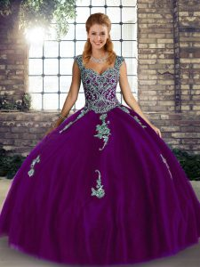 Customized Purple Sleeveless Tulle Lace Up Quinceanera Gowns for Military Ball and Sweet 16 and Quinceanera