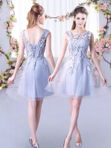 Tulle Scoop Sleeveless Lace Up Lace Quinceanera Dama Dress in Grey