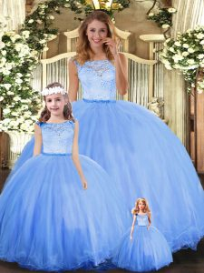 Dynamic Sleeveless Floor Length Lace Clasp Handle Quince Ball Gowns with Blue