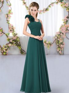 Delicate Peacock Green Chiffon Lace Up Straps Sleeveless Floor Length Court Dresses for Sweet 16 Hand Made Flower