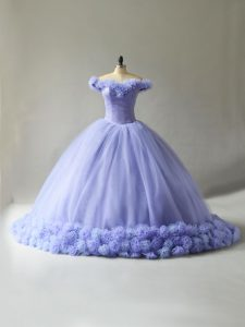 Lavender Off The Shoulder Lace Up Hand Made Flower Sweet 16 Quinceanera Dress Court Train Sleeveless