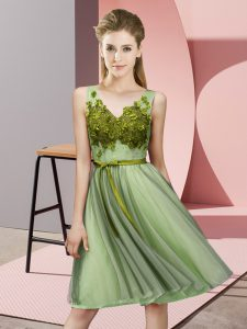 Empire Damas Dress Yellow Green V-neck Tulle Sleeveless Knee Length Lace Up