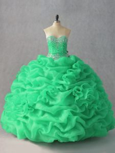 Smart Green Sleeveless Beading and Pick Ups and Hand Made Flower Floor Length Sweet 16 Dress