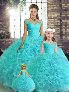 Low Price Aqua Blue Sleeveless Floor Length Beading Lace Up Sweet 16 Dress