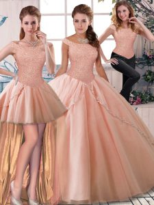 Peach Three Pieces Tulle Off The Shoulder Sleeveless Beading Lace Up Quinceanera Dresses Brush Train