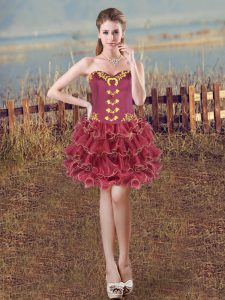 Burgundy Lace Up Sweetheart Embroidery and Ruffles Homecoming Dress Organza Sleeveless