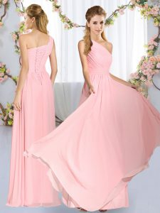 Sleeveless Floor Length Ruching Lace Up Vestidos de Damas with Baby Pink