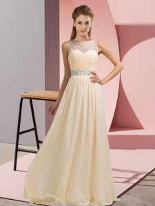 Simple Champagne Backless Evening Party Dresses Beading Sleeveless Floor Length
