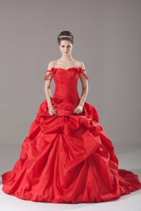 Red Sleeveless Brush Train Ruching and Pick Ups and Hand Made Flower Sweet 16 Quinceanera Dress
