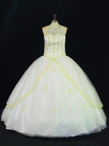 Most Popular Floor Length Yellow And White Quinceanera Dress Halter Top Sleeveless Lace Up