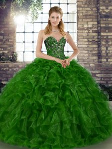 Inexpensive Floor Length Green Vestidos de Quinceanera Organza Sleeveless Beading and Ruffles