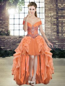 Unique Orange Tulle Lace Up Formal Dresses Sleeveless High Low Beading and Ruffles