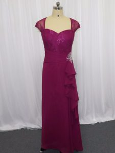 Perfect Fuchsia Chiffon Zipper Sweetheart Cap Sleeves Floor Length Beading and Lace and Appliques