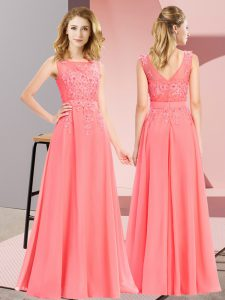 Sleeveless Zipper Floor Length Beading and Appliques Dama Dress