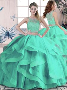 Perfect Turquoise Two Pieces Scoop Sleeveless Tulle Floor Length Lace Up Beading and Ruffles Quinceanera Gowns