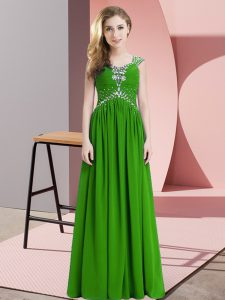 Cap Sleeves Lace Up Floor Length Beading Prom Dress