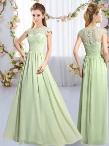 Yellow Green Scoop Neckline Lace Vestidos de Damas Cap Sleeves Clasp Handle