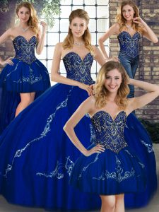 Edgy Royal Blue Lace Up Quince Ball Gowns Beading and Embroidery Sleeveless Floor Length