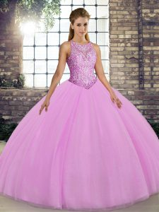 Floor Length Lilac Quince Ball Gowns Tulle Sleeveless Embroidery