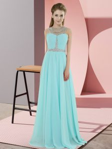 Adorable Aqua Blue Empire Beading Dress for Prom Zipper Chiffon Sleeveless Floor Length