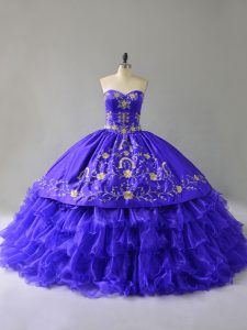 Blue Lace Up Sweetheart Embroidery and Ruffled Layers Quinceanera Gowns Organza Sleeveless