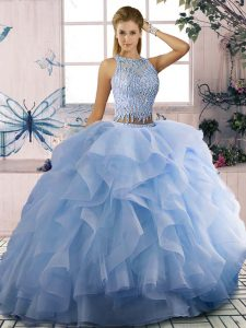 Luxury Beading and Ruffles Ball Gown Prom Dress Blue Zipper Sleeveless Floor Length