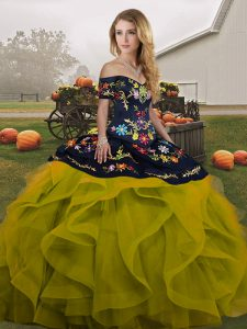 Off The Shoulder Sleeveless Sweet 16 Quinceanera Dress Floor Length Embroidery and Ruffles Olive Green Tulle