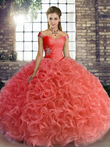Floor Length Lace Up 15 Quinceanera Dress Watermelon Red for Military Ball and Sweet 16 and Quinceanera with Beading