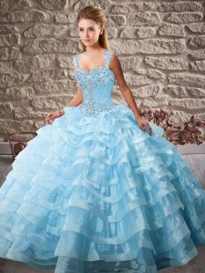 New Arrival Sleeveless Court Train Lace Up Beading and Ruffled Layers Quinceanera Gown