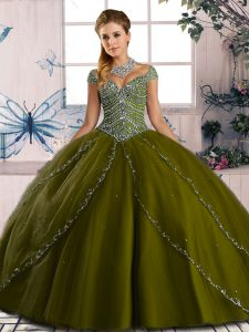Best Olive Green Lace Up Quinceanera Dresses Beading Cap Sleeves Brush Train