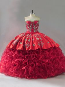 Cheap Red Sweet 16 Quinceanera Dress Sweet 16 and Quinceanera with Embroidery Sweetheart Sleeveless Brush Train Lace Up