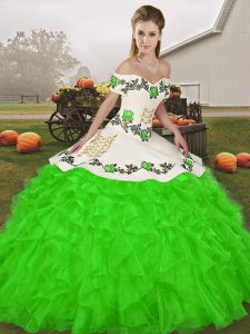 Adorable Green Ball Gowns Embroidery and Ruffles Quinceanera Dress Lace Up Organza Sleeveless Floor Length