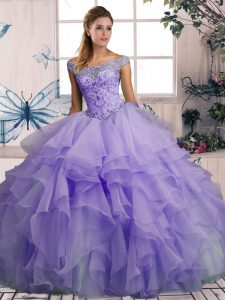 Wonderful Off The Shoulder Sleeveless Lace Up Quince Ball Gowns Lavender Organza