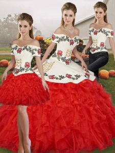 Traditional White And Red Organza Lace Up Sweet 16 Dresses Sleeveless Floor Length Embroidery and Ruffles