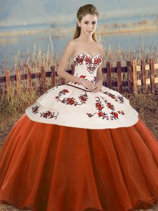 Embroidery and Bowknot Quinceanera Dresses Rust Red Lace Up Sleeveless Floor Length