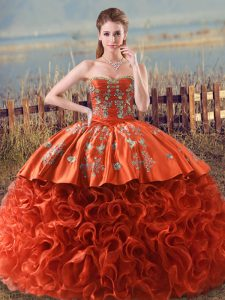 Pretty Floor Length Ball Gowns Sleeveless Orange Red Quince Ball Gowns Brush Train Lace Up