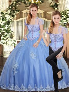 Strapless Sleeveless Lace Up Quince Ball Gowns Light Blue Tulle